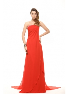 Strapless Column Long Red Evening Dress with Detachable Train