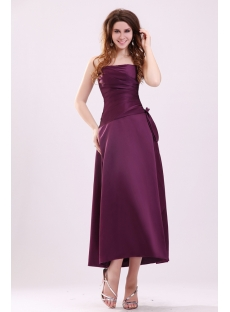 Strapless Grape Satin Tea Length Bridesmaid Dress