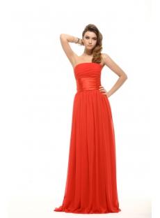 Strapless Red Soft Chiffon Plus Size Prom Dress Cheap