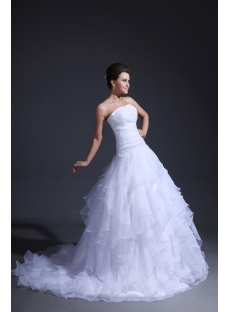 Strapless Ruffled Drop Waist Princess Wedding Dress
