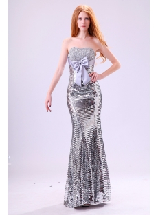 Strapless Silver Sequins 2014 Evening Dress
