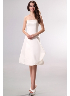 Strapless Simple Short Summer Wedding Dress
