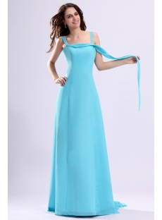 Straps Blue Chiffon Formal Prom Gown with Train