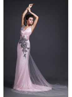 Straps V-neckline Pink Evening Dresses