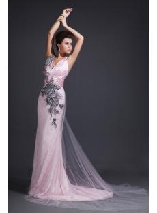 Straps V-neckline Pink Evening Dresses