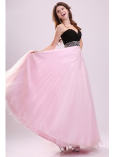 Stylish Black and Pink Long Ball Gown for Plus Size