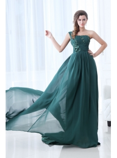 Superior Dark Green One Shoulder Evening Dress with Train