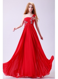 Superior Red Chiffon Plus Size Evening Dress