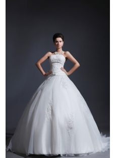 Sweet Strapless Cinderella Ball Gown Wedding Dress 2014