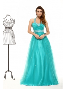 Teal Blue Halter Plus Size Quince Gown