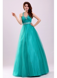 Teal Blue Halter Quinceanera Dresses for Plus Size