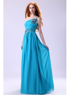 Teal Blue One Shoulder Chiffon Masquerade Evening Dress