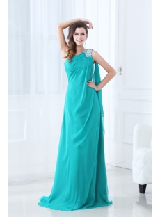 Teal Blue One Shoulder Chiffon Vintage Evening Dress