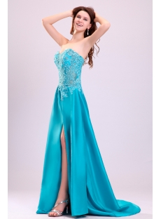 Teal Blue Sexy Illusion Summer Cocktail Dress