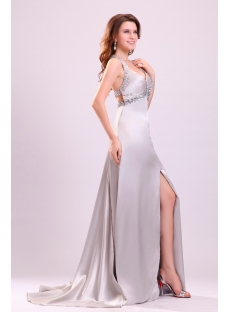 Tempting Silver Beaded T-back Sexy Prom Dress