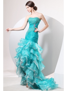 Terrific Teal Blue Mermaid Quinceanera Dress with High-low Hem