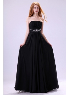 Unique Black Empire Plus Size Party Gown