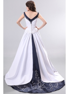 Unique Navy Blue V-neckline Elegant Wedding Gowns