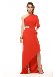 Unique Red High-low One Shoulder Evening Gown