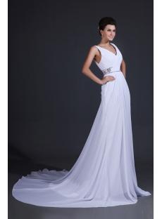 V-neckline Beach Wedding Dresses Casual 2014