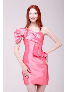 Watermelon Short One Shoulder Junior Prom Dresses