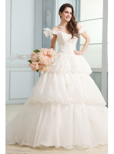 Western Off Shoulder Bubble Skirt Wedding Dress
