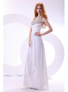 White Long Beaded Halter Graduation Dresses