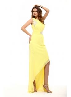 Yellow Elegant One Shoulder Asymmetrical Cocktail Dress