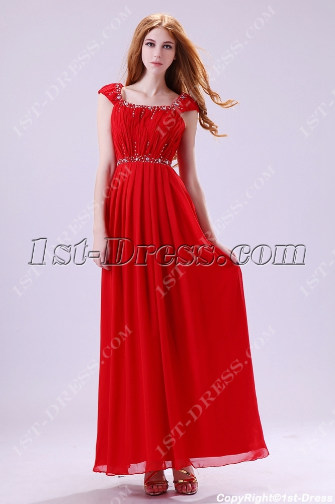 Ankle Length Square Cap Sleeves Modest Evening Gown:1st-dress.com