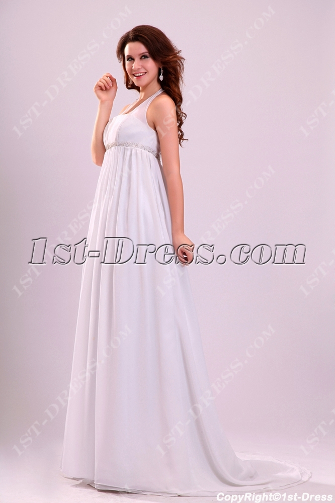Attractive Halter Chiffon Pregnant Wedding Dress