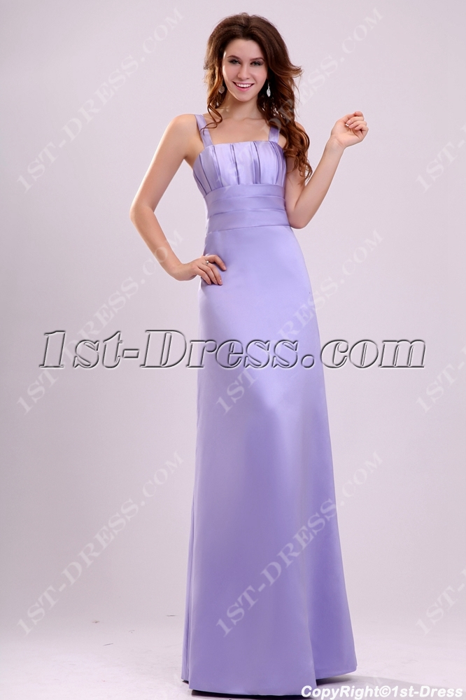 Bright Lavender Straps Cheap Bridesmaid Dress:1st-dress.com