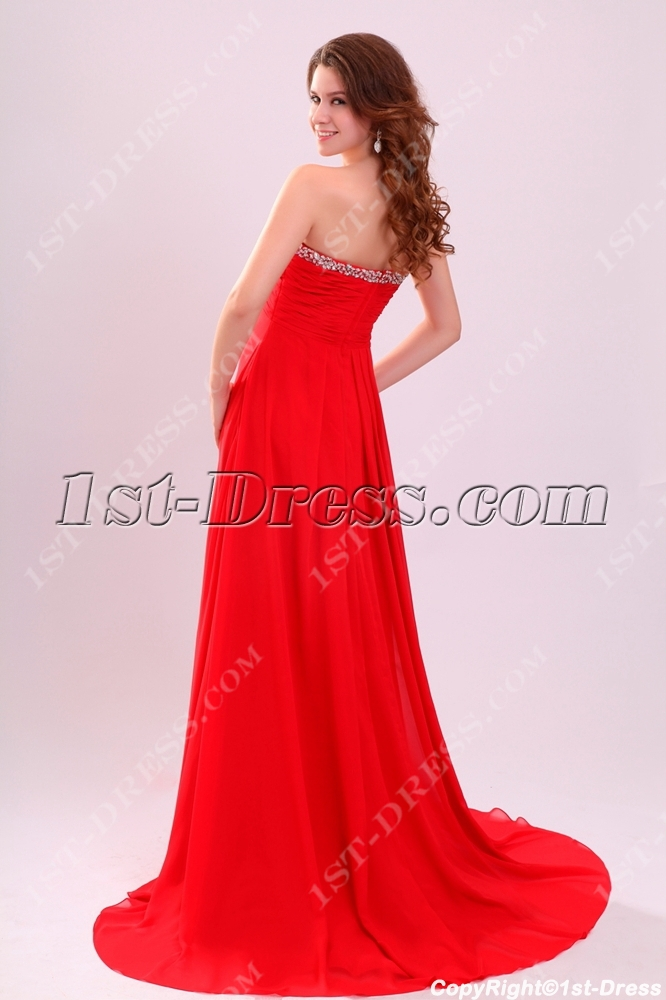 Brilliant Red Strapless Long Plus Size Prom Gown with Train:1st ...