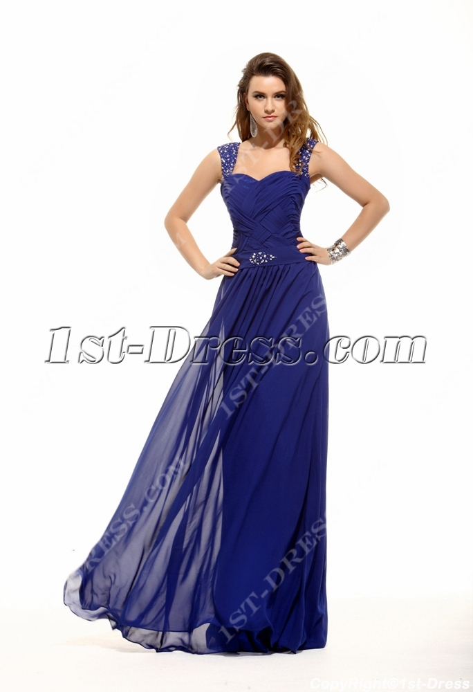 Brilliant Royal Blue Plus Size Prom Gown:1st-dress.com
