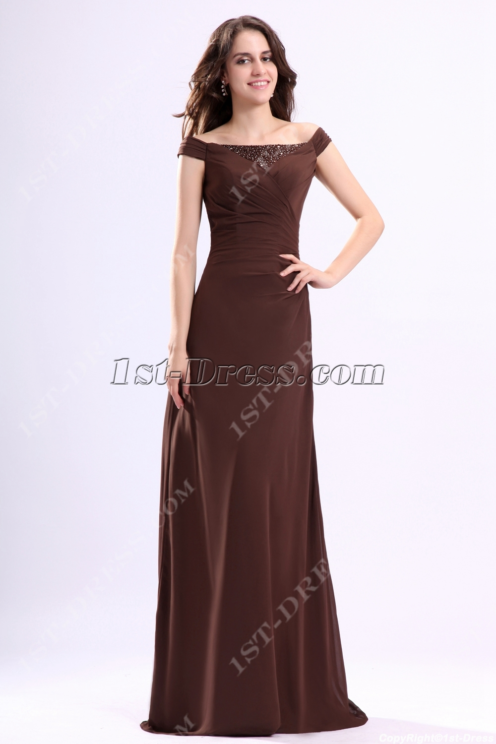 adf18fd9ee Brown Off Shoulder Mother of Groom Dress (Free Shipping)