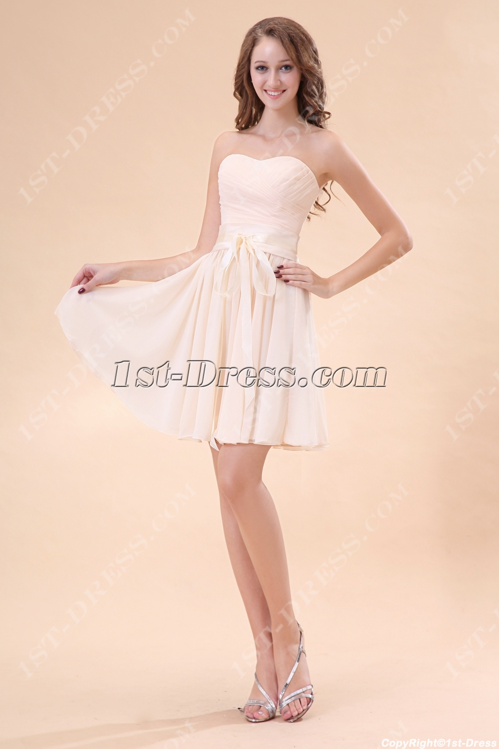 Champagne Strapless Sweetheart Junior Bridesmaid Gowns:1st-dress.com
