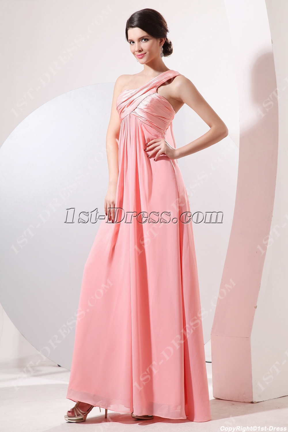 Charming Grecian One Shoulder Maternity Cocktail Dress:1st-dress.com