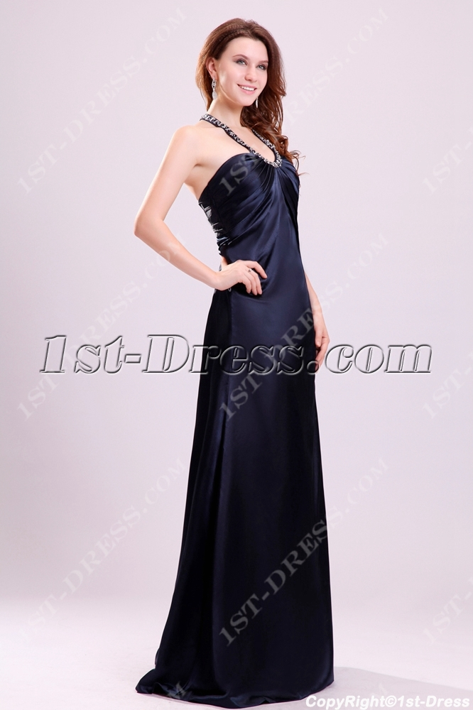 Charming Navy Blue Halter Plus Size Military Party Dresses
