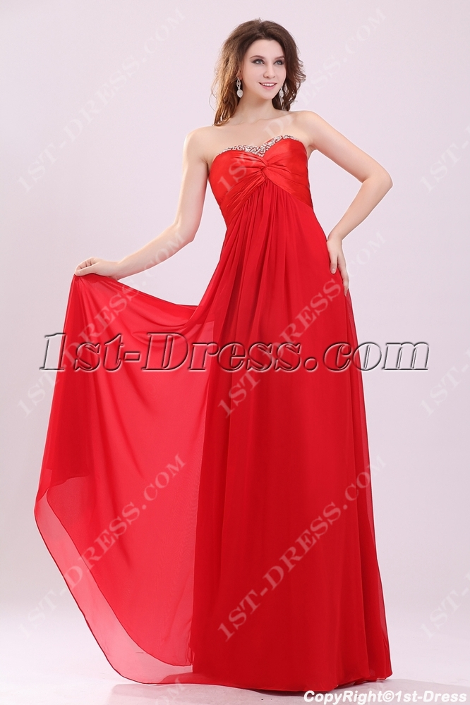 Charming Red Strapless Empire Plus Size Prom Dress1st Dress