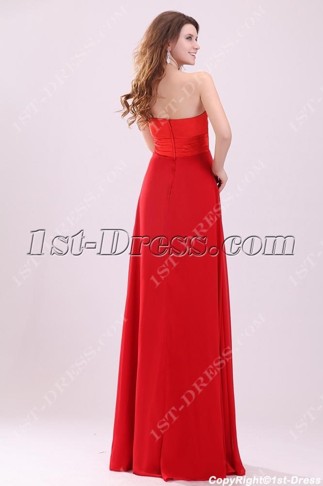 Charming Red Strapless Empire Plus Size Prom Dress:1st-dress.com