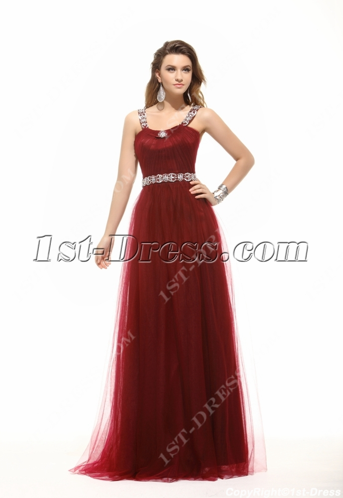 Chic Hot Burgundy Long Plus Size Prom Dress 1st Dress Com