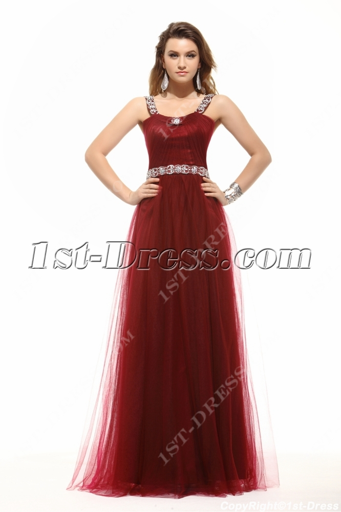Chic Hot Burgundy Long Plus Size Prom Dress:1st-dress.com