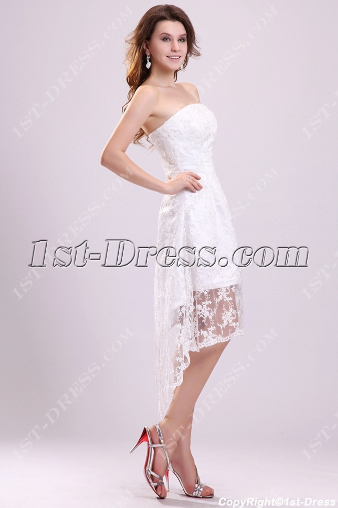 Chic Strapless High Low Lace Wedding Dresses Summer 2012
