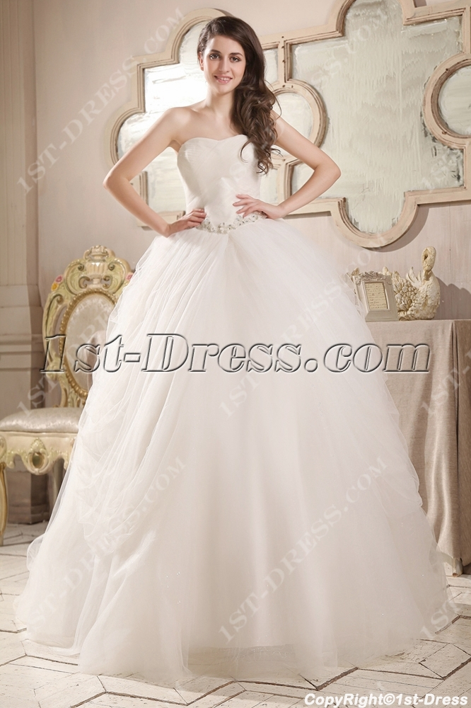 Cinderella Tulle Sweetheart Ball Gown Wedding Dress:1st-dress.com