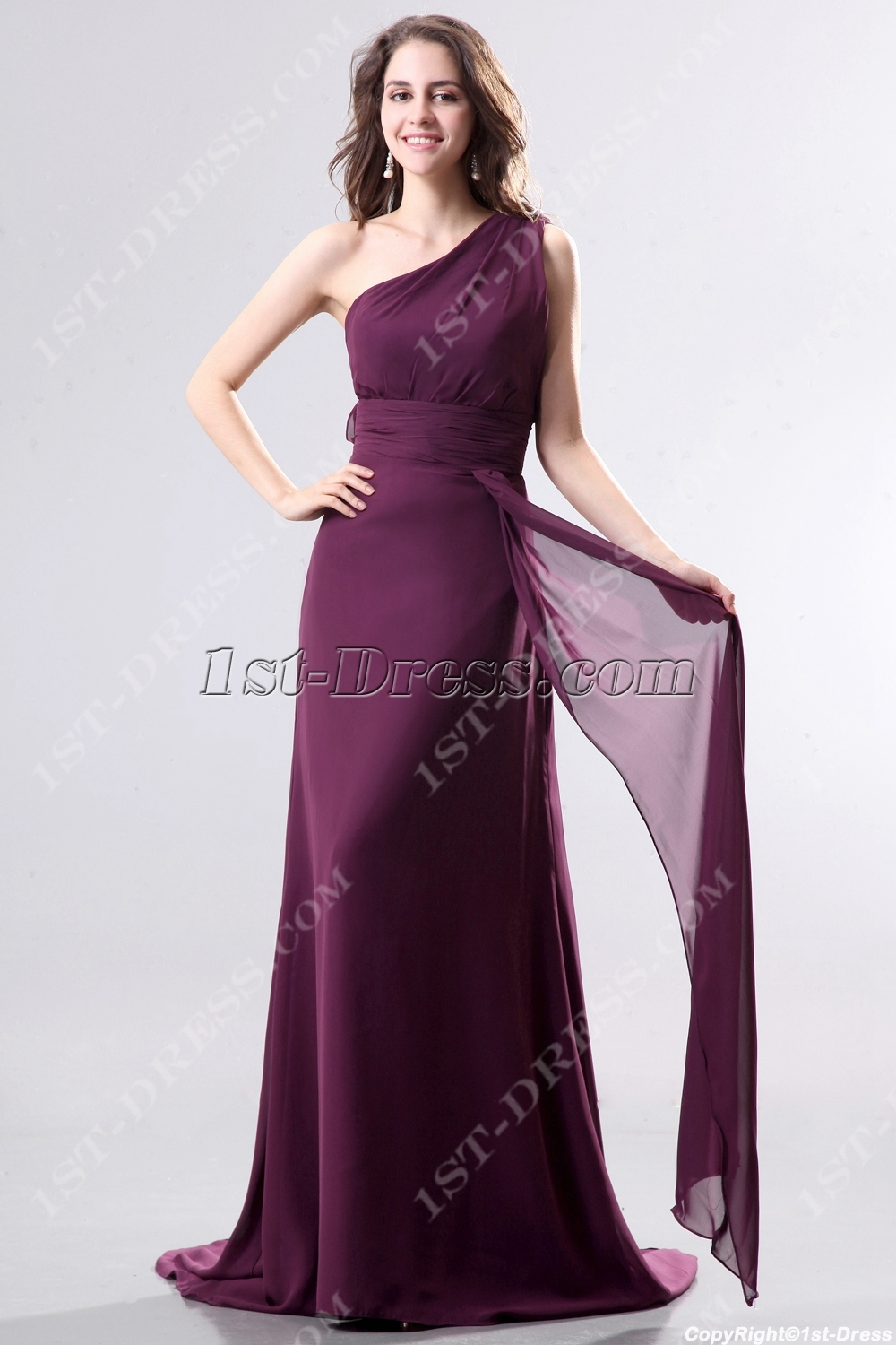 Dark Purple One Shoulder Chiffon Evening Dress with Train:1st-dress.com