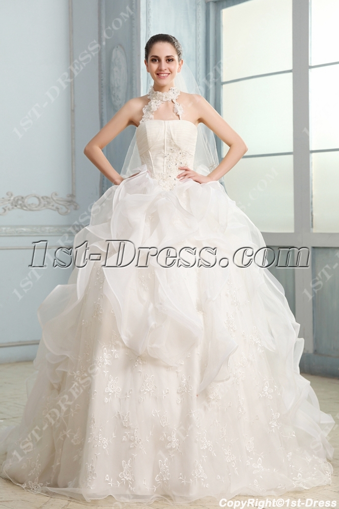 Dramatic Halter Ball Gown Chapel Train Ruffles Wedding Dress1st