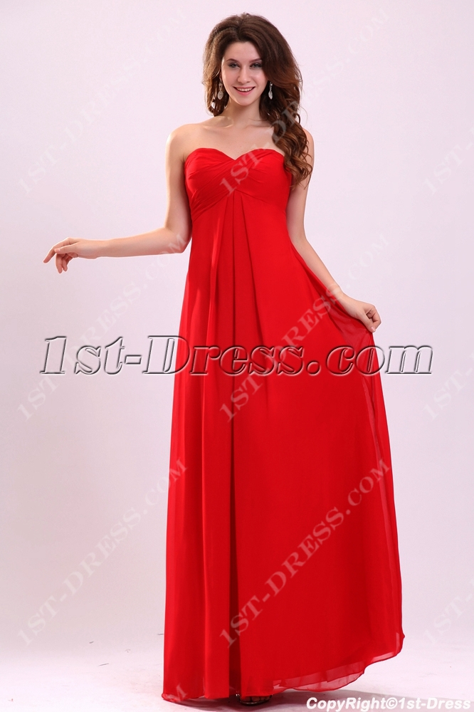 Dramatic Red Chiffon Prom Dress For Plus Size1st Dress
