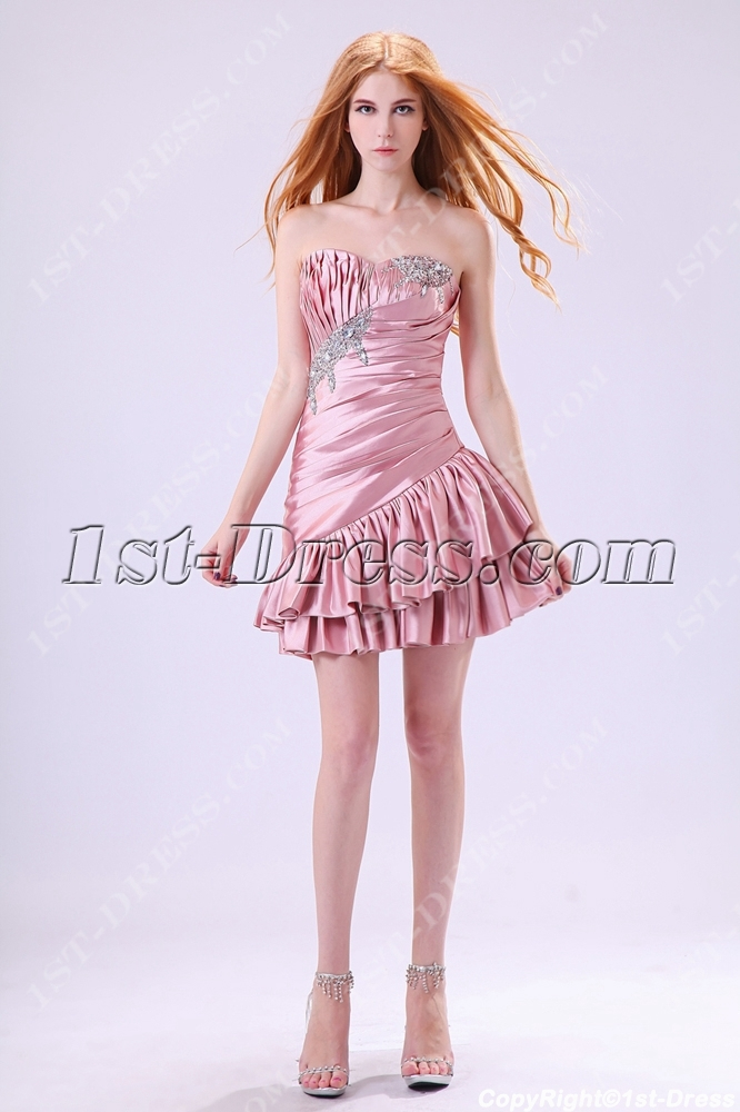 Dusty Rose Cute Junior Prom Dresses Short 2013 Loading Zoom