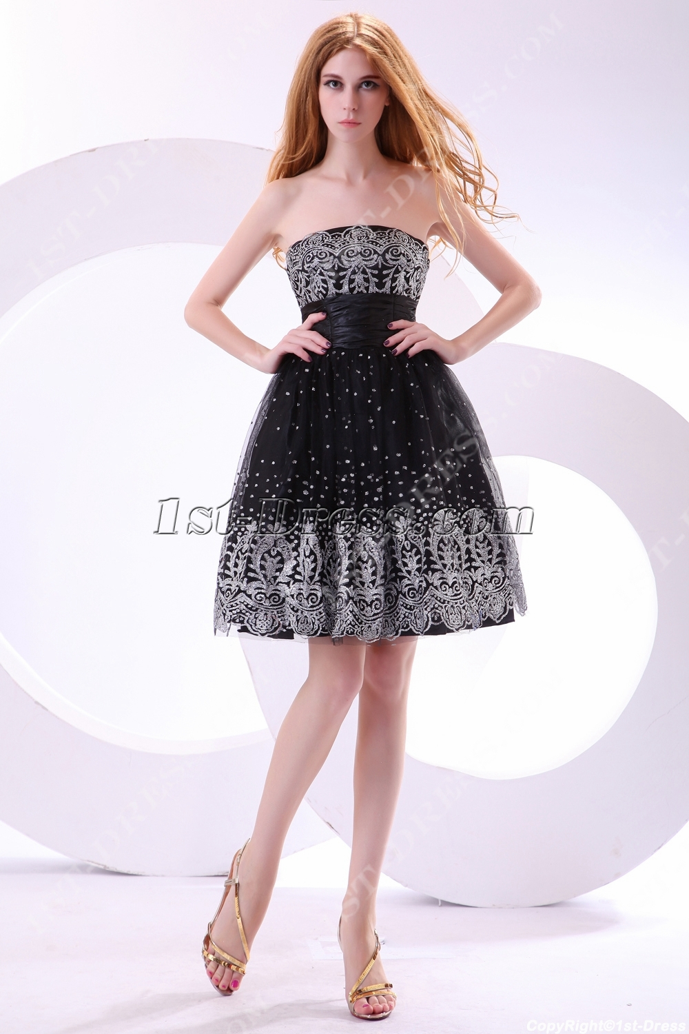 Elegant Black and Silver Short Junior Prom Dresses:1st-dress.com