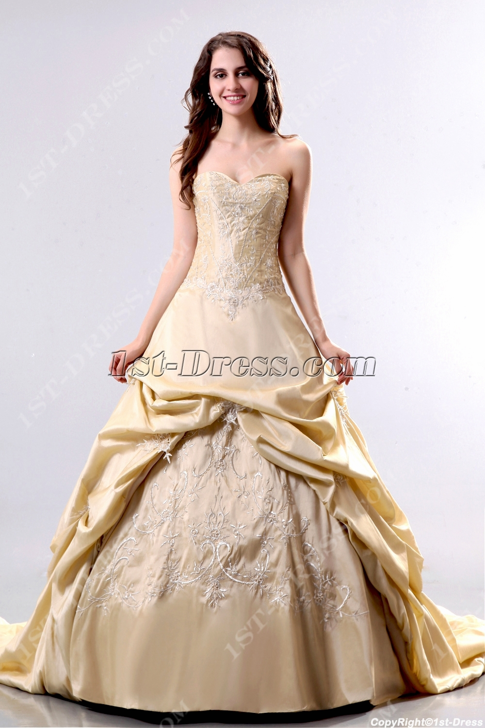 elegant champagne 2013 bridal gowns with corset1stdresscom