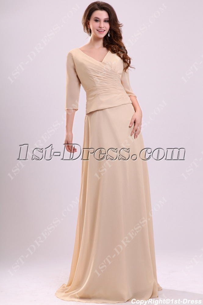 Elegant Champagne Chiffon Mother Of Groom Dress With 3 4 Long Sleeves Loading Zoom